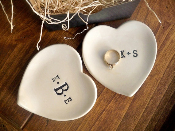 monogram ring dish, engagement ring holder,  custom ceramic  heart shaped jewelry bowl,  Black and White Pottery