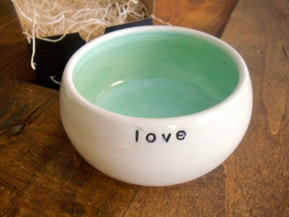 ceramic bowl, white, green, LOVE  text, bridal, engagement  gift,  In Stock, Gift Boxed