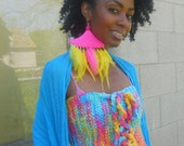 Neon Pink & Yellow Feather Onesie Earring ( Cotton Candy Collection SP2012)