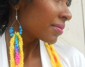 Turquoise Stones and Knit Earrings (Cotton Candy Collection SP2012)
