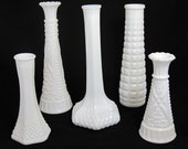 Vintge Milk Glass Vases - The Addison Collection - Set of 5 Milk Glass Vases