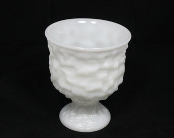 Vintage Milk Glass Tumbled Planter Vase By  E.O. Brody Wedding Decor Candy Buffet Centerpiece