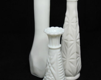 Vintage Milk Glass Vases - The Madison Collection - Instant Collection, Hand Styled, For Wedding Decor Centerpiece
