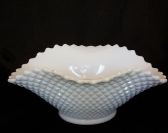 Vintage Milk Glass English Hobnail Serving Bowl by Westmoreland - Wedding Decor Centerpiece