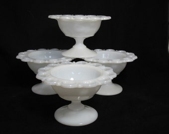 Vintage Milk Glass Lace Edge  Compotes - The Ava Collection - Set of 4 - Home or Wedding Decor