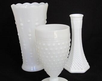 Vintage Milk Glass Vases - The Riley Collection - Set of 3 Milk Glass Vases - Wedding Decor Centerpiece or Home Decor
