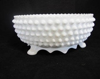 Sale - Vintage Hobnail Footed Large Bowl by Fenton - Wedding Decor - Centerpiece - Home Decor