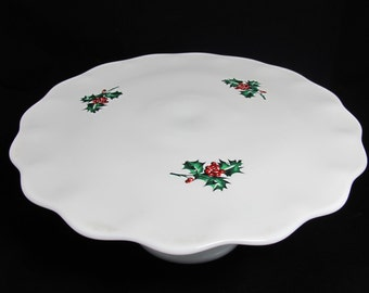 Vintage Milk Glass Cake Stand Hand-Painted Holly Berry or Milk Glass Cake Plate - Christmas or Holiday Decor