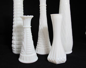 Vintage Milk Glass Vases - The Piper Collection - Set of 5 Milk Glass Vases, Hand Styled Collection