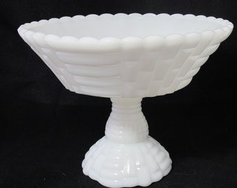 Sale-Vintage Basket Weave Milk Glass Compote - For Wedding Decor Centerpiece or Candy Buffet