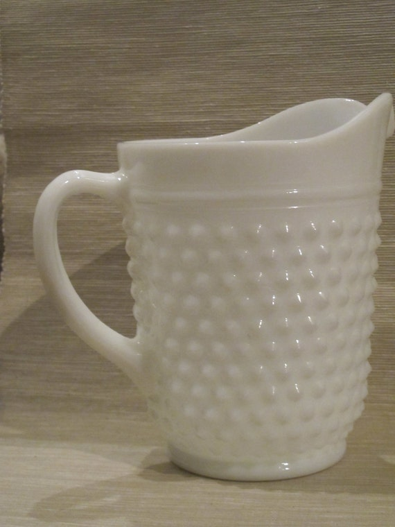 Sale-Vintage Hobnail Milk Glass Pitcher by Anchor Hocking