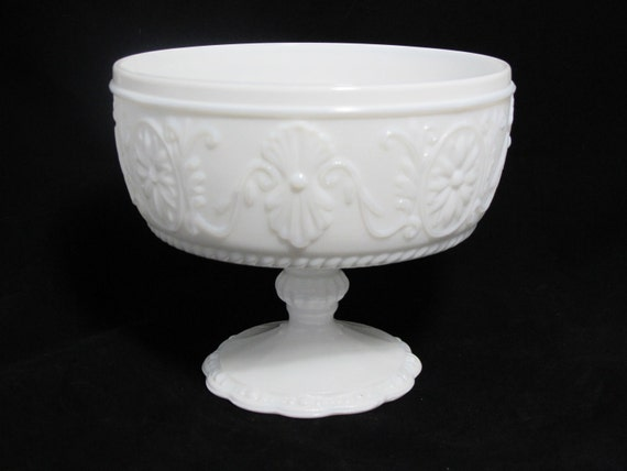 Vintage Milk Glass Compote for a Wedding or Shower