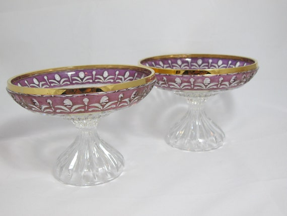 Set of Two German Crystal Compotes made by Anna Hutte