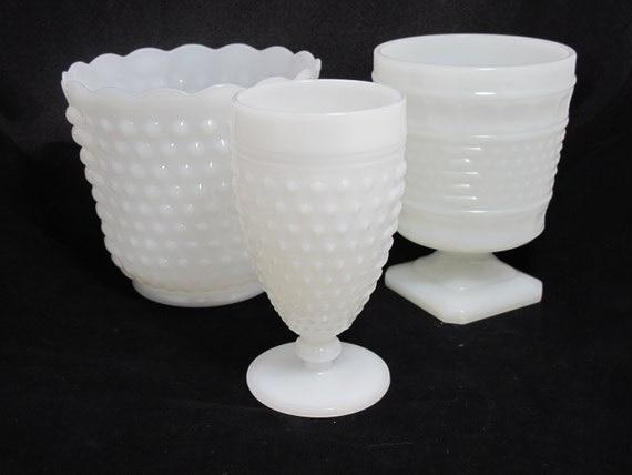 Vintage Milk Glass Hobnail Vases - The Layla Collection - Set of 3 Hobnail Milk Glass Vases