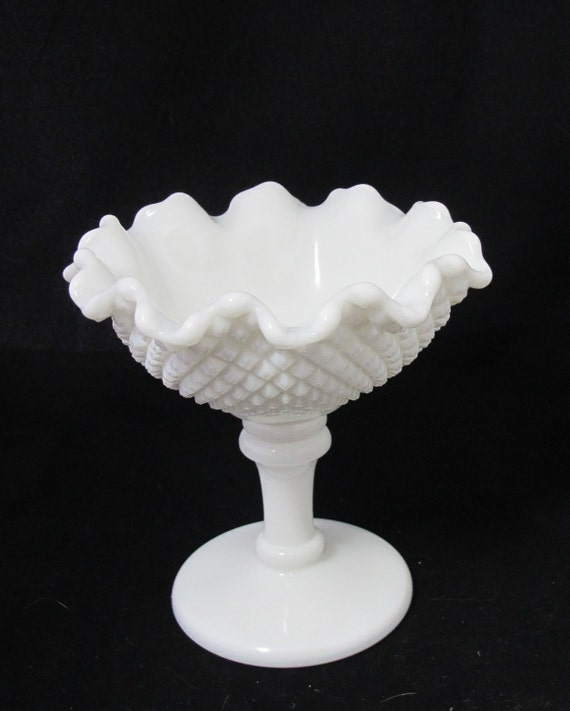 Vintage English Hobnail Milk Glass Compote