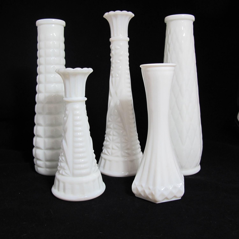 vintage milk glass vases the piper collection set of 5. Black Bedroom Furniture Sets. Home Design Ideas