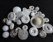 VINTAGE BUTTONS GLASS 30 solid white some with gold trim