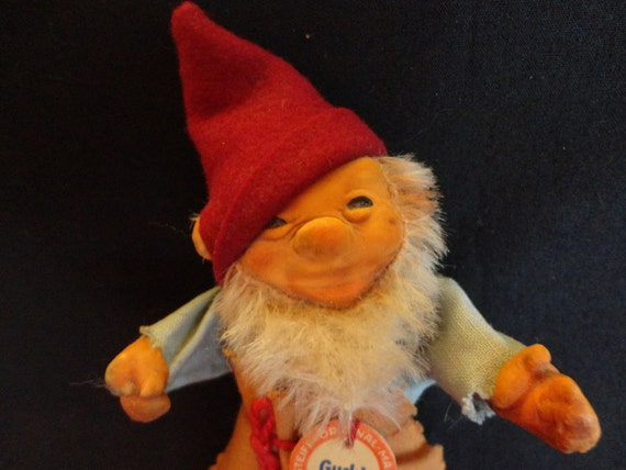 """Vintage """"STEIFF"""" Elf 1960s doll/figure 5 1/2"""" original tag & clothing great features colorful  collectible"""