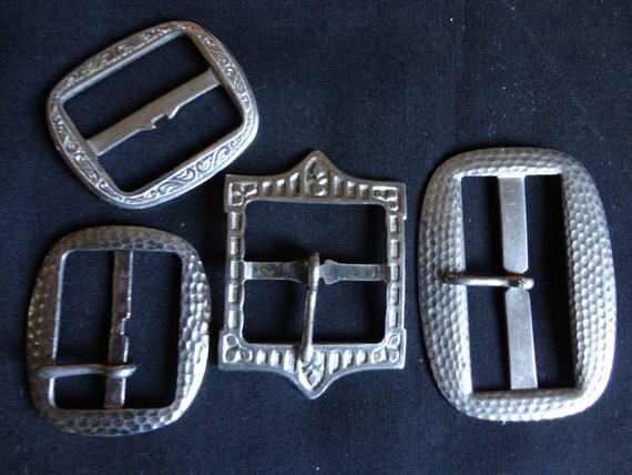VINTAGE Buckles metal 4 1930s and 40s all silver tone some Art Deco patterns sewing repurpose
