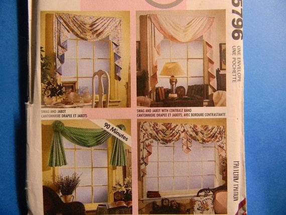Uncut McCall's Pattern 5796 Home Dec in a Sec Window Treatments