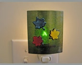 Dichroic Fused Night Light - Green Lighting Leaves - FREE Shipping in the US