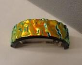 Dichroic Fused Glass Ponytail Barrette - Hair - Copper- Dichroic Jewelry Hair Clip Women Accessories Girls Glass Art