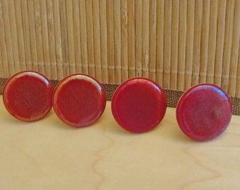 Iridescent Red Round Fused Glass Knobs Cabinet Knobs Hardware Kitchen Bathroom Office Desk Drawer Round Furniture Pulls Cupboard Handles