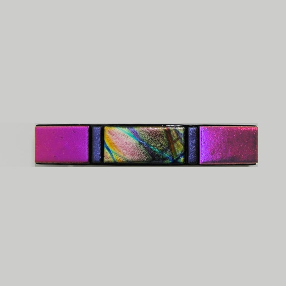 Large Dichroic Fused Glass Barrette - Hair - Dichroic Jewelry - Pink - FREE Shipping in the US