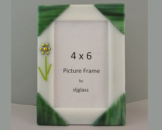 Dichroic Fused Glass Picture Frame Photo Frame Green Glass Art White Green Picture Holder Gifts Under 50 Spring Flowers