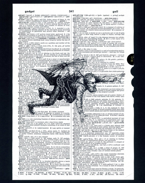 Man in Flying Contraption Dictionary Print