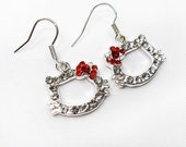 Cat Rhinestones Earrings White Gold Plated