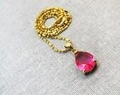 18k Gold Necklace Pendant Pink Rain Drop