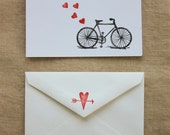 Bicycle Valentine: set of 4 cards