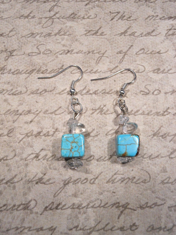 """SALE Turquoise Earrings with Crystal Quartz """"Love, Positive Thinking"""""""