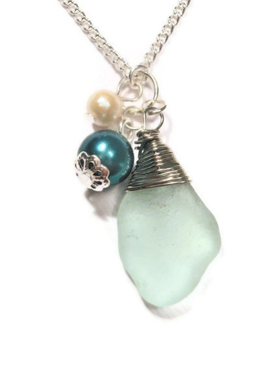 Nautical Necklace Summer Necklace Green Beach Glass Jewelry with Natural Pearl from Moonstone Creations