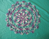 Handmade Crocheted Doily- Purple, Light Purple, & White 14""