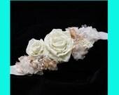 Bridal Sash Flower Wedding Sash Ivory Pearls Floral Belt