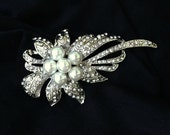 Bridal Wedding Hair Comb Headpiece Silver with White Pearls and Rhinestones
