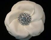 Bridal Headpiece Flower Comb Hair Clip Pin Brooch CZ Rhinestone Antique White