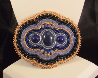 Hand Beaded Hair Clip with Lapis Cabochons
