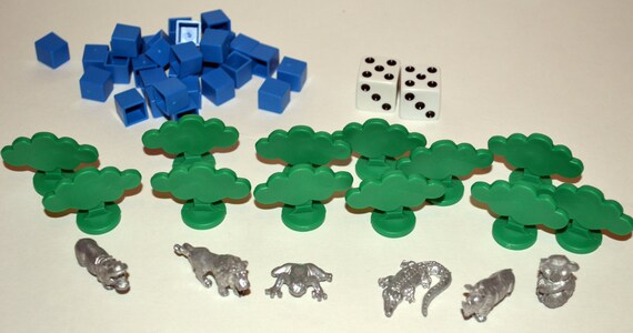 Monopoly Animal Tokens, Set of Pewter tokens from an Animalopoly Game. Lion, Frog, Alligator, Rhino, Hippo, Koala Bear
