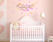 Hearts and Leaves Branch - Removable Vinyl Decal - Great for Nursery or Girl's Bedroom