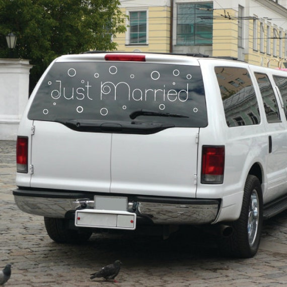 Champagne Just Married Decal for Getaway Car