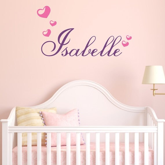 Bubble Hearts and Custom Name Decal - Removable Vinyl Decal - Perfect for Nursery or Teen Girl Bedroom