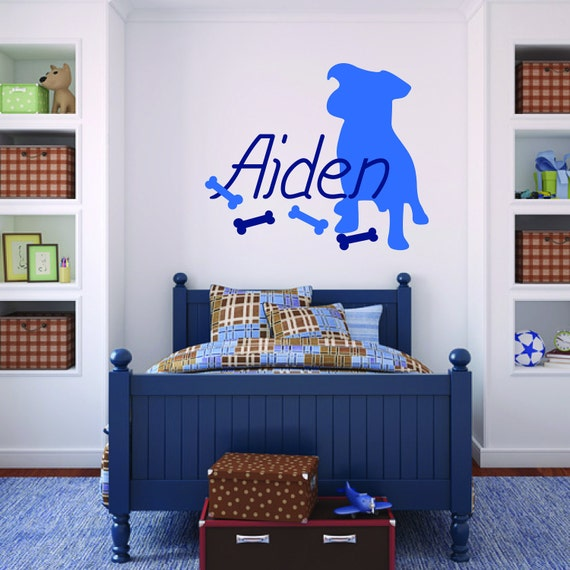 Children Decor - Puppy Silhouette Custom Name Decal with Bones - Removable Vinyl Decal - Great for Nursery or Bedroom