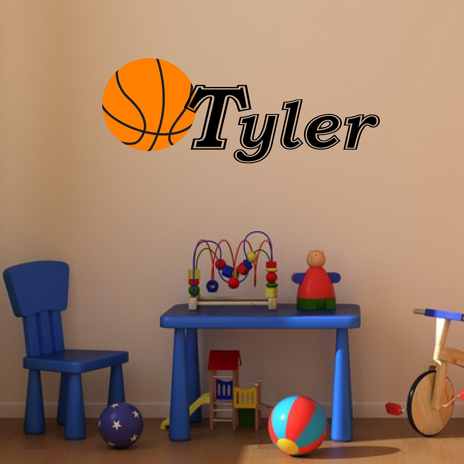 Basketball With Name Removable Vinyl Decal By Apostrophedecals