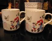 Disney Mug Set with Dumbo Mickey Pluto Pinocchio Donald and more- Gold Trim
