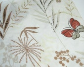 Tan, Brown, Red Butterfly Fabric - Recycled Pillowcase Fat Quarter