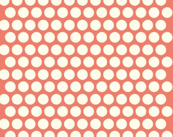Organic Coral Polka Dot Fabric - Birch Dottie 1 Yard