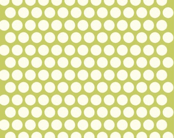 Organic Green Polka Dot Fabric - Birch Dottie 15 Inches - End of Bolt
